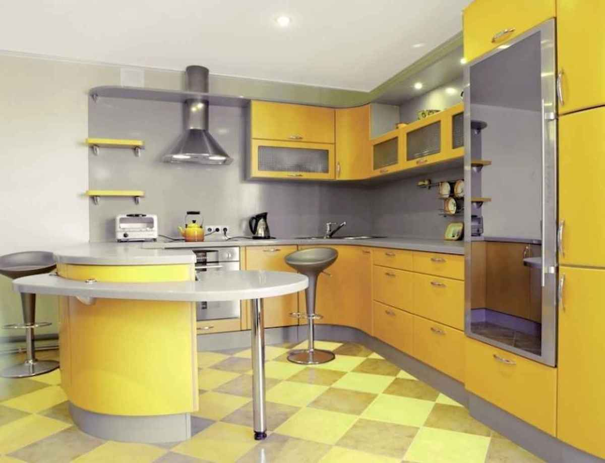 Best 40 colorful kitchen cabinet remodel ideas for first apartment (25)
