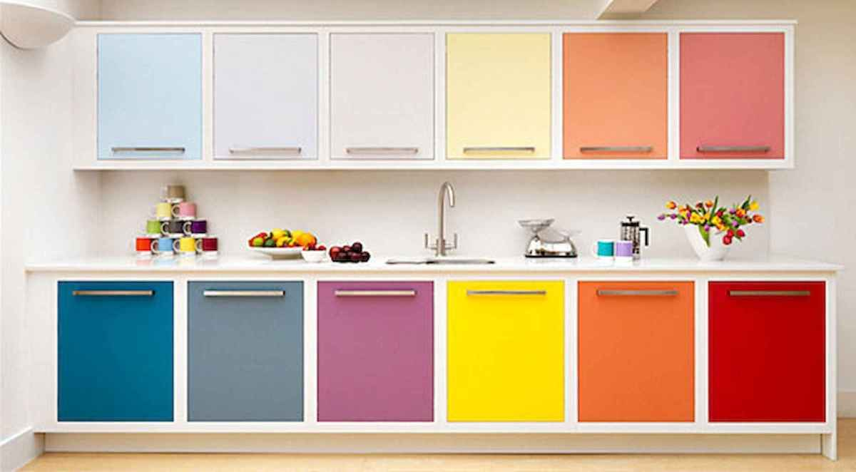 Best 40 colorful kitchen cabinet remodel ideas for first apartment (8)