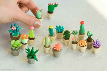 25 easy to try diy polymer clay cactus design ideas (11)
