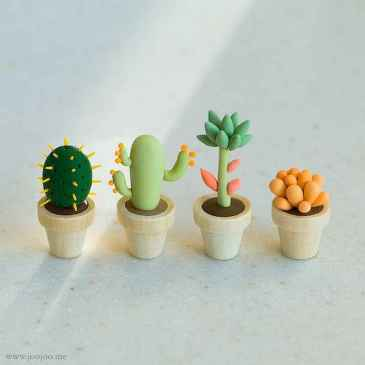 25 easy to try diy polymer clay cactus design ideas (5)