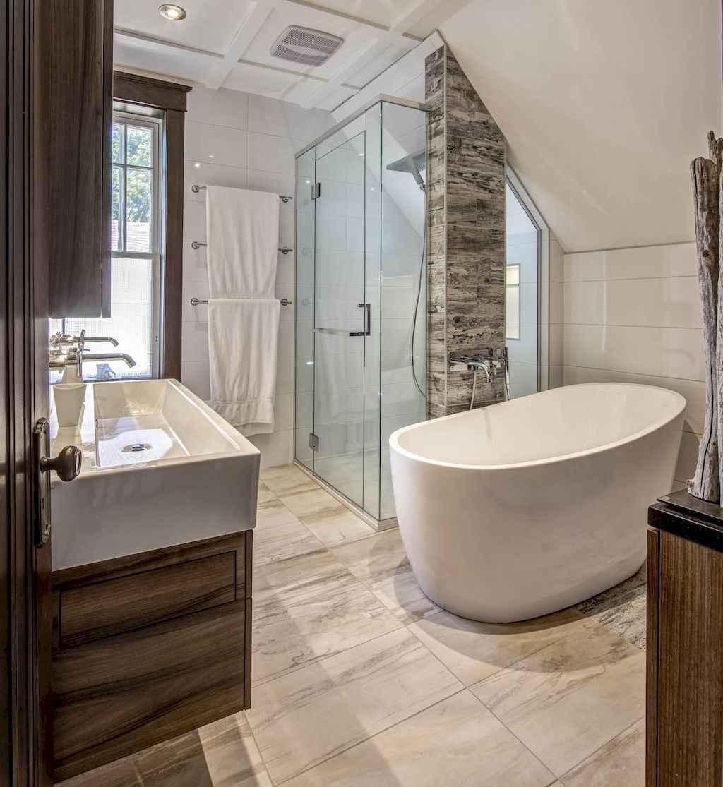 100 best farmhouse bathroom tile shower decor ideas and remodel to inspiring your bathroom (73)