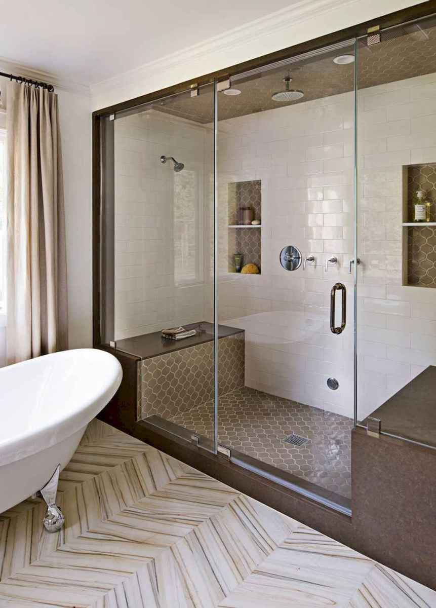 100 best farmhouse bathroom tile shower decor ideas and remodel to inspiring your bathroom (74)