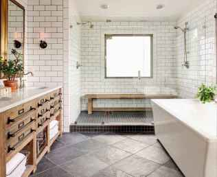 100 best farmhouse bathroom tile shower decor ideas and remodel to inspiring your bathroom (91)
