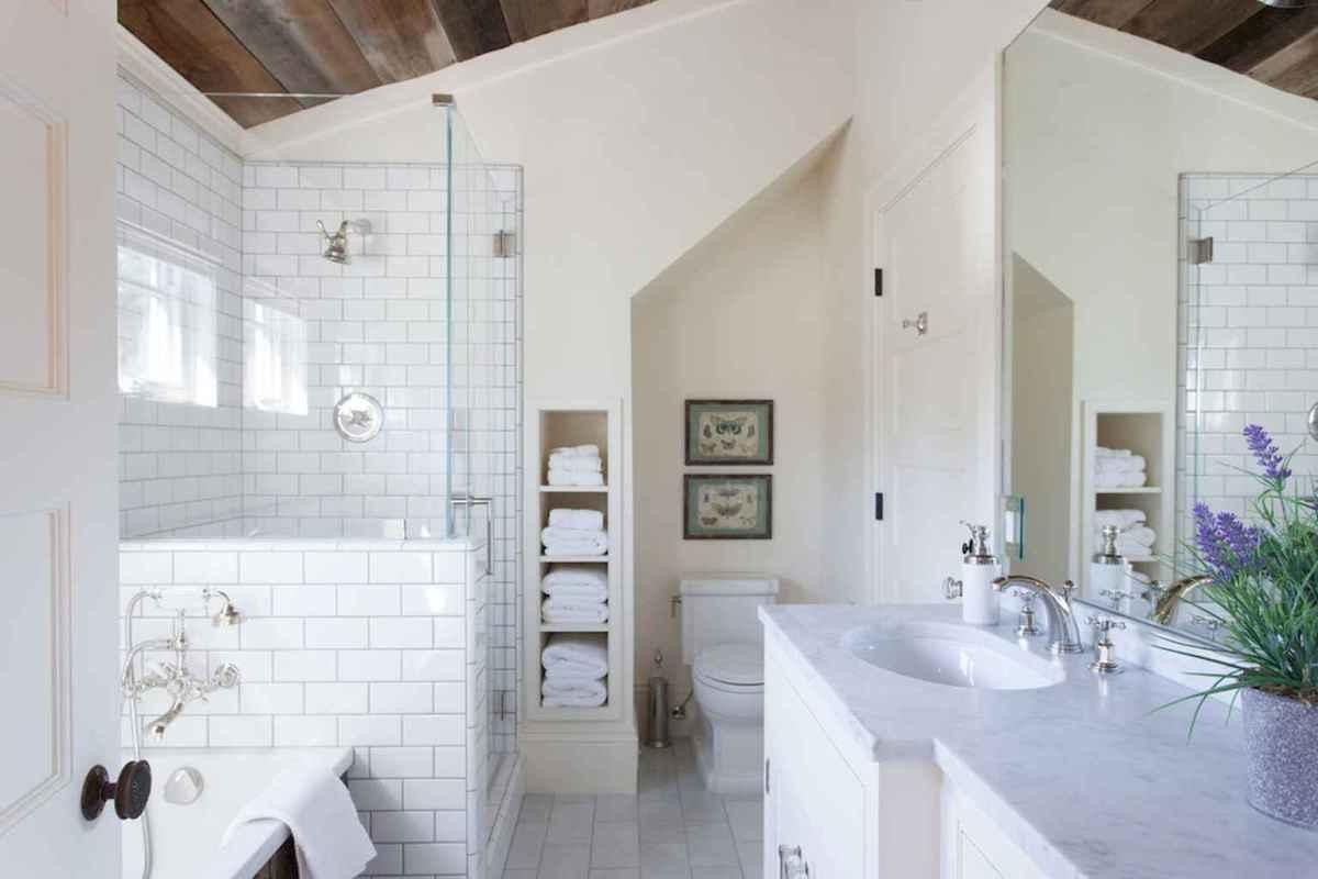 100 best farmhouse bathroom tile shower decor ideas and remodel to inspiring your bathroom (99)