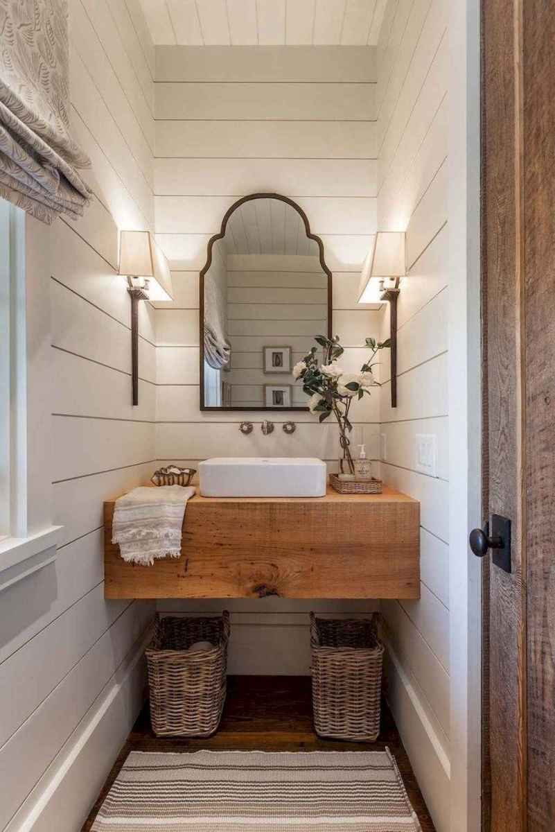 150 stunning farmhouse bathroom tile floor decor ideas and remodel to inspire your bathroom (27)