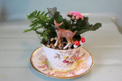 50 easy diy summer gardening teacup fairy garden ideas (1)