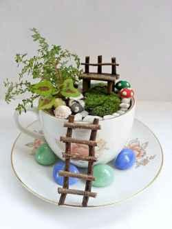 50 easy diy summer gardening teacup fairy garden ideas (43)