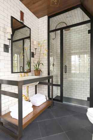 80 awesome farmhouse master bathroom decor ideas and remodel to inspire your bathroom (19)