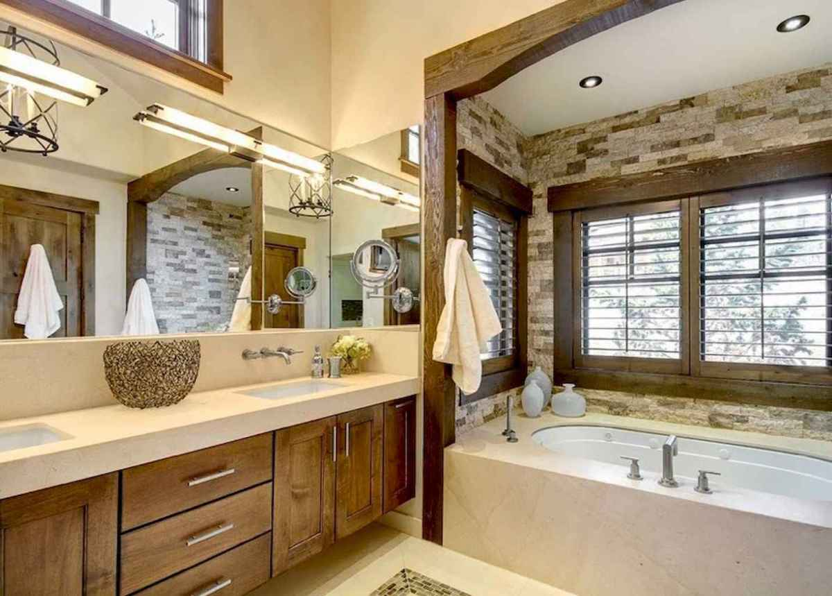 80 awesome farmhouse master bathroom decor ideas and remodel to inspire your bathroom (38)
