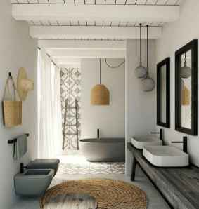 80 awesome farmhouse master bathroom decor ideas and remodel to inspire your bathroom (8)