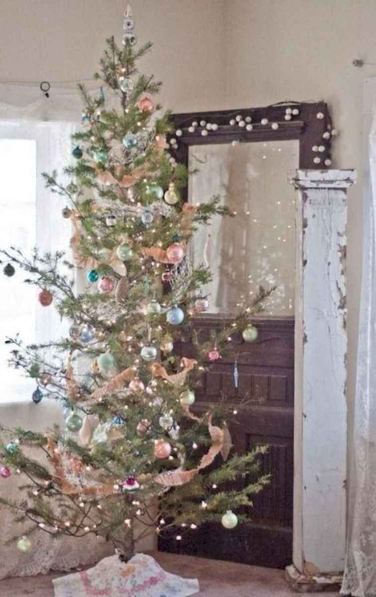 30 rustic and vintage christmas tree ideas decorations (20)