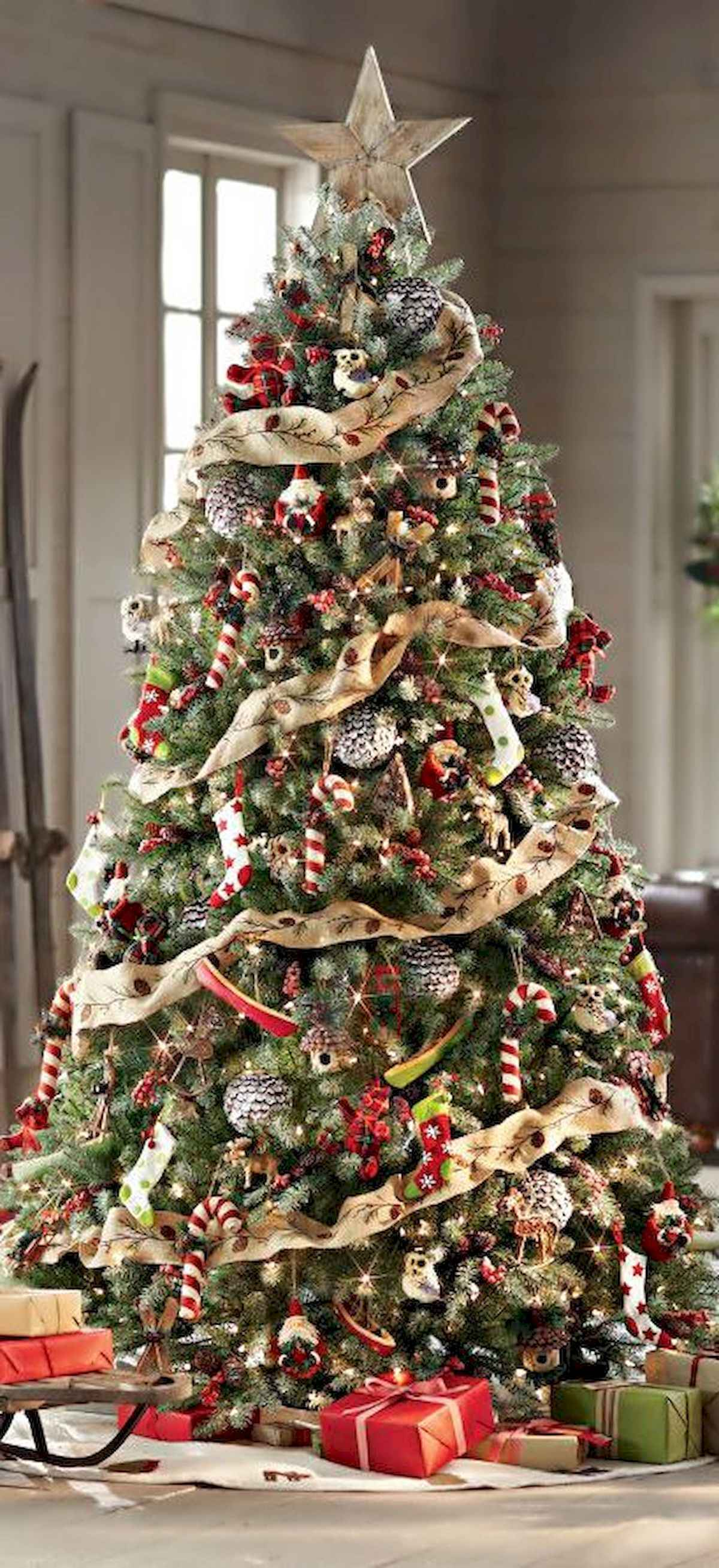 30 rustic and vintage christmas tree ideas decorations (28)