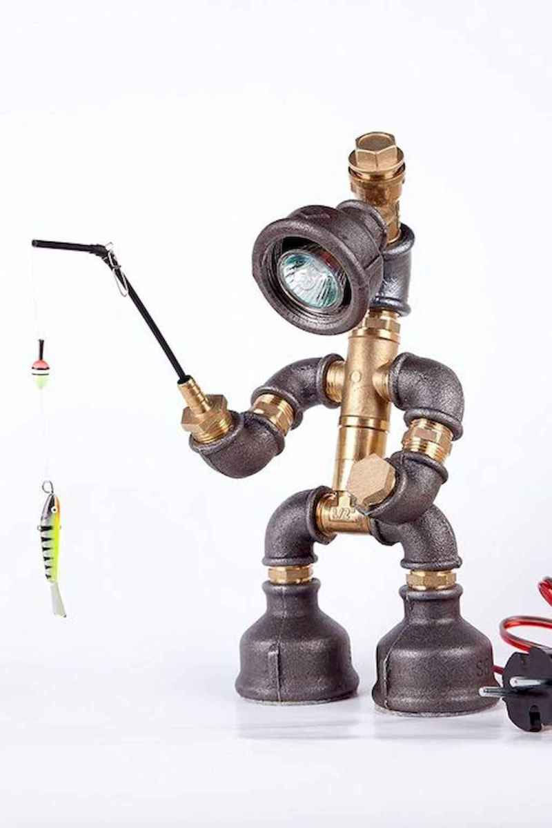 35 creative diy industrial pipe lamp design ideas robot to decor your home (17)