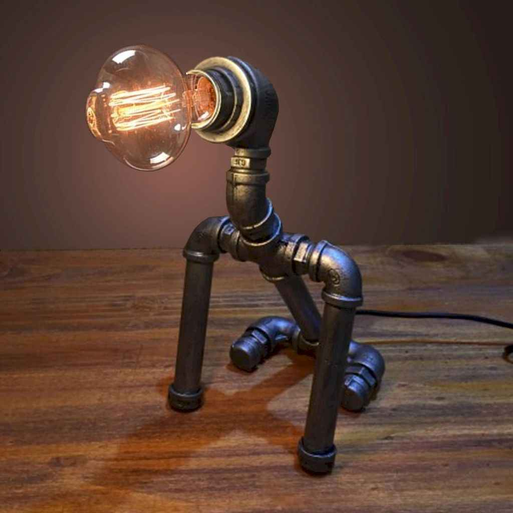 35 creative diy industrial pipe lamp design ideas robot to decor your home (24)