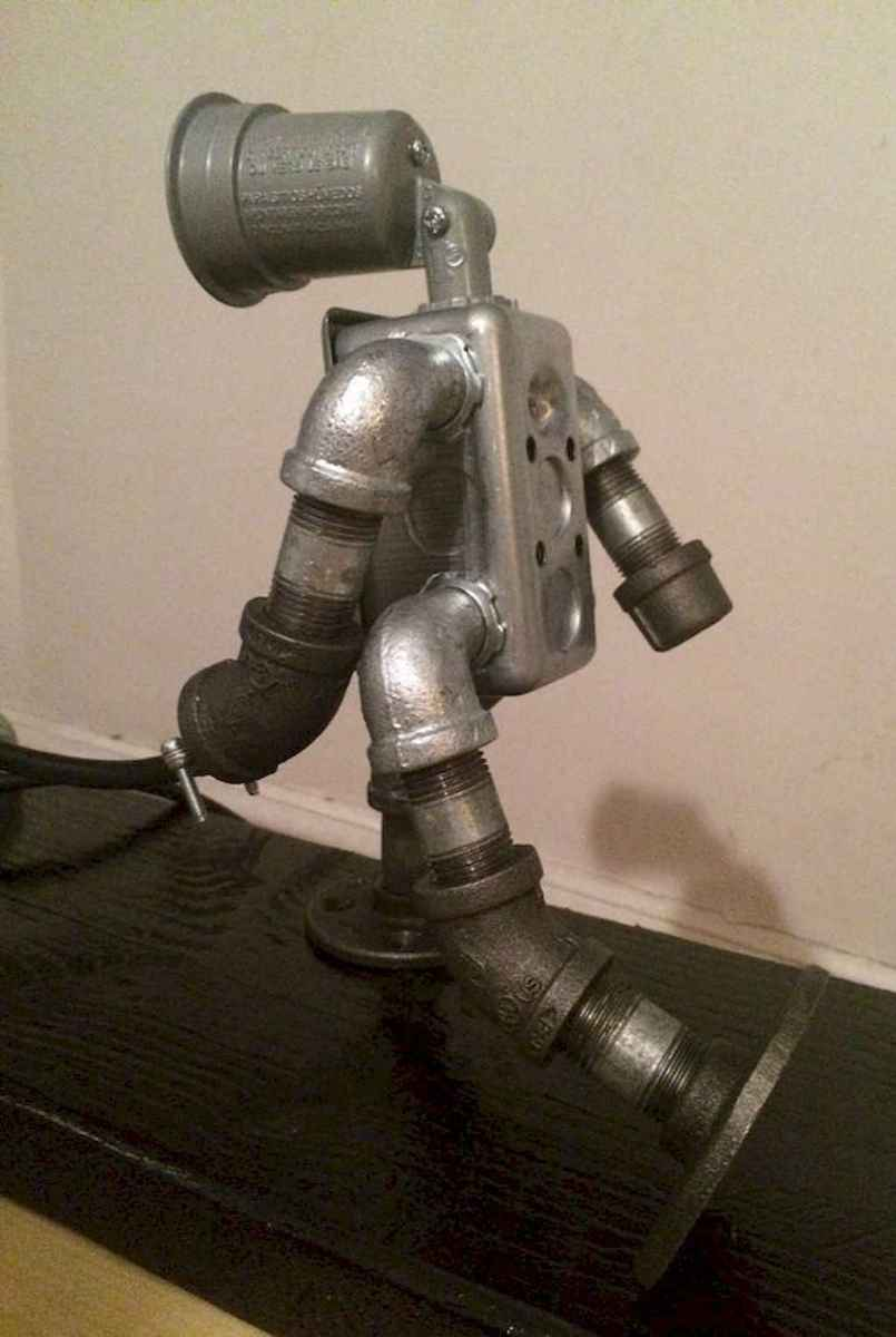 35 creative diy industrial pipe lamp design ideas robot to decor your home (29)
