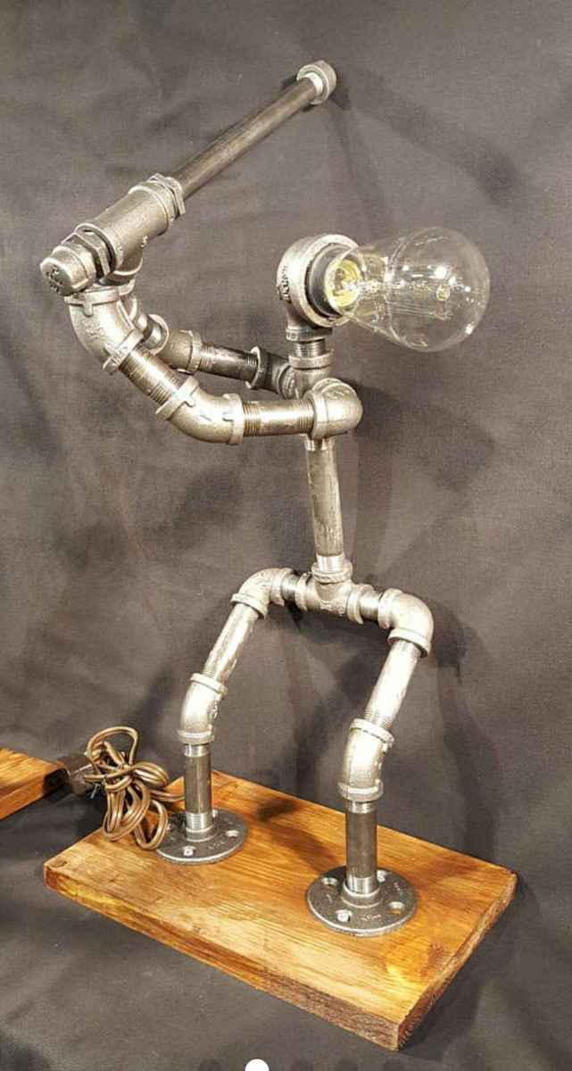 35 creative diy industrial pipe lamp design ideas robot to decor your home (3)