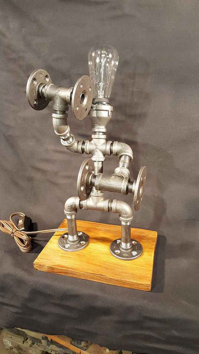 35 creative diy industrial pipe lamp design ideas robot to decor your home (9)