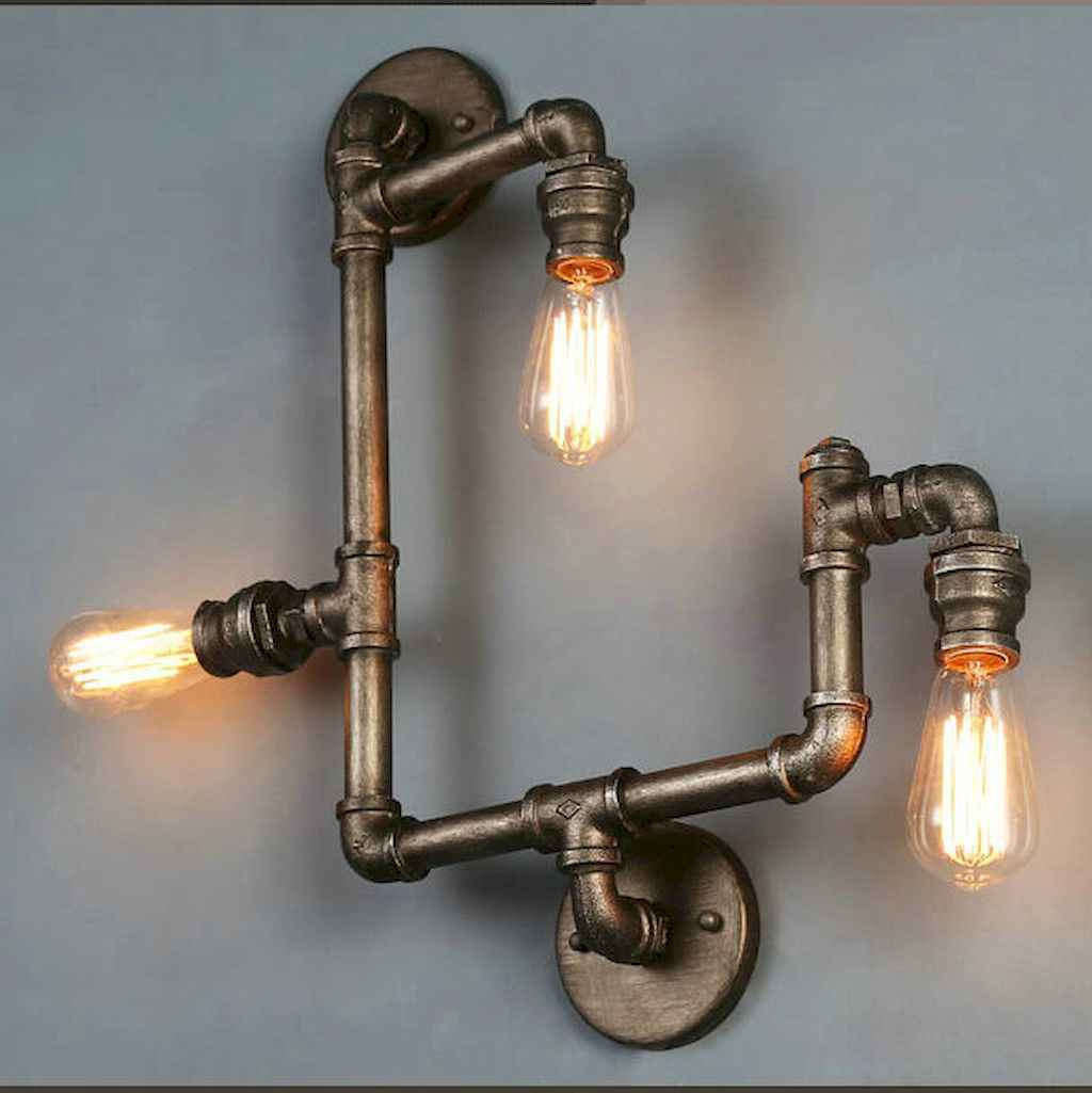 70 cheap diy industrial pipe lamps ideas to decor your home (18)