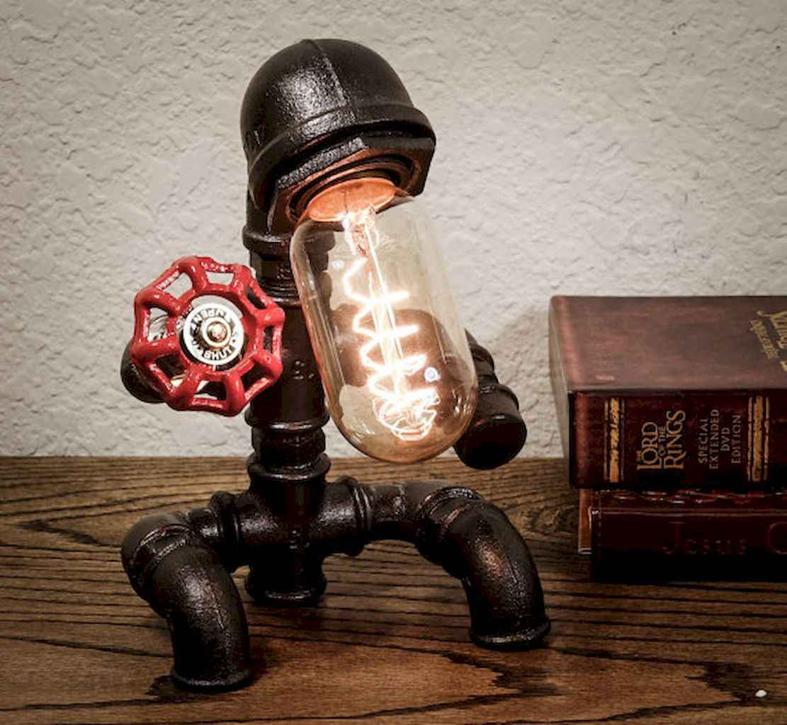 70 cheap diy industrial pipe lamps ideas to decor your home (30)