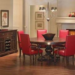 Leather Living Room Chairs Dark Gray Rug Distressed Dining | Canadel Champlain Collection