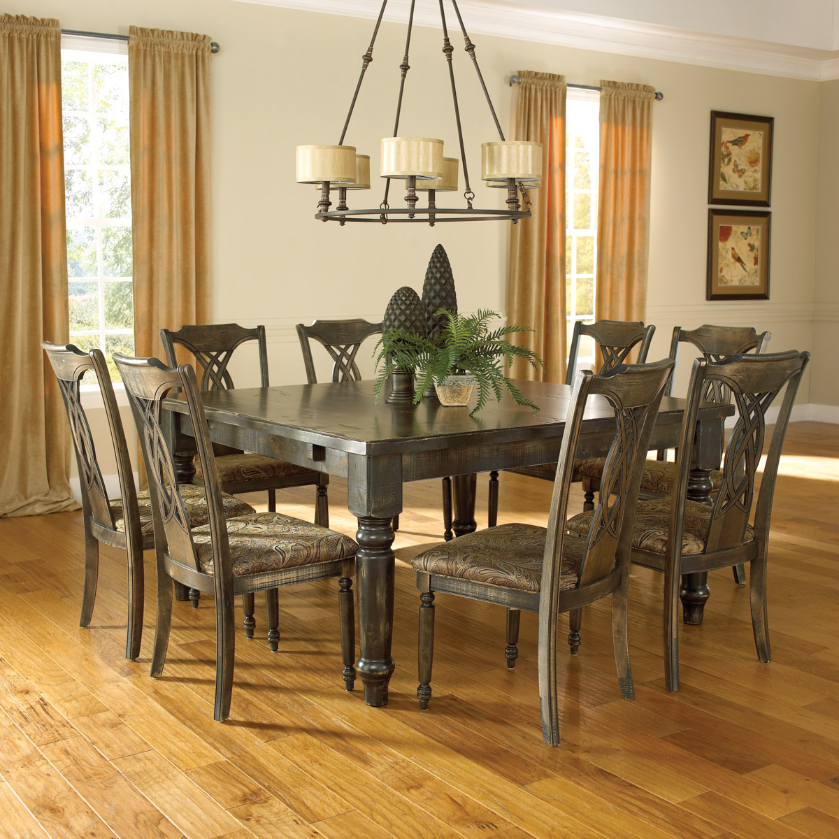 8 chair dining table set beanless bag distressed room | canadel champlain collection
