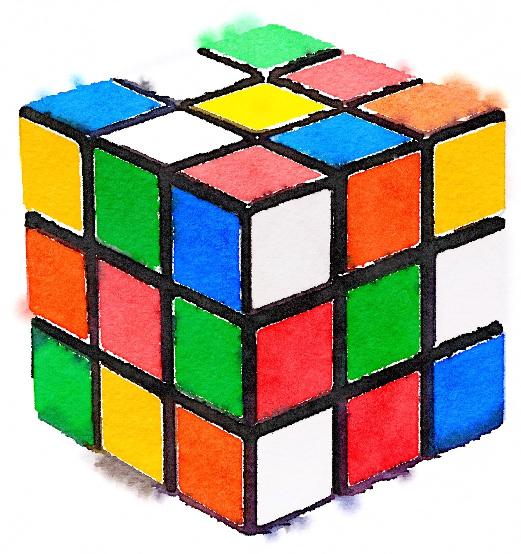 Watercolor painting of an unsolved 3x3 Rubix Cube
