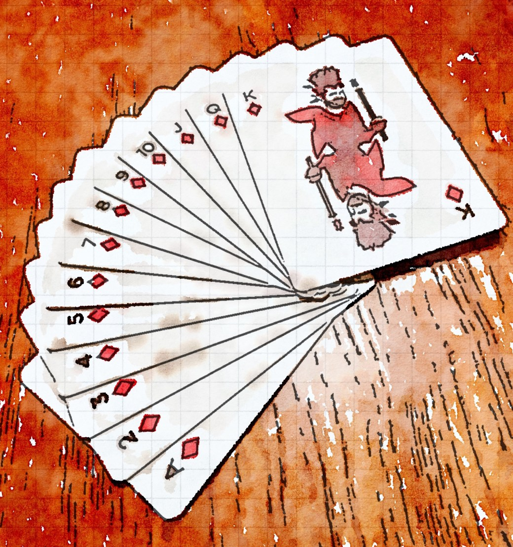 Watercolor of 13 playing cards fanned out on a table. They are all diamonds, and ordered from ace to king. The king depicts Will Wheaton.