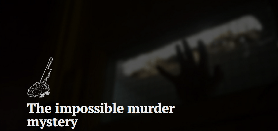 The Impossible Murder Mystery teaser image depicts a brain with a knife in it.