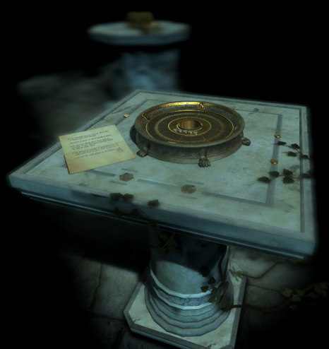Screenshot from The Room Two depicting a pedestal with a metal compass puzzle box, a letter rests beside the puzzle. In the background is another pedistal with a puzzle box.