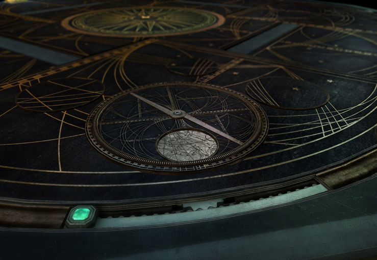 In-game screenshot of a puzzle involving a star chart and measurement instruments.