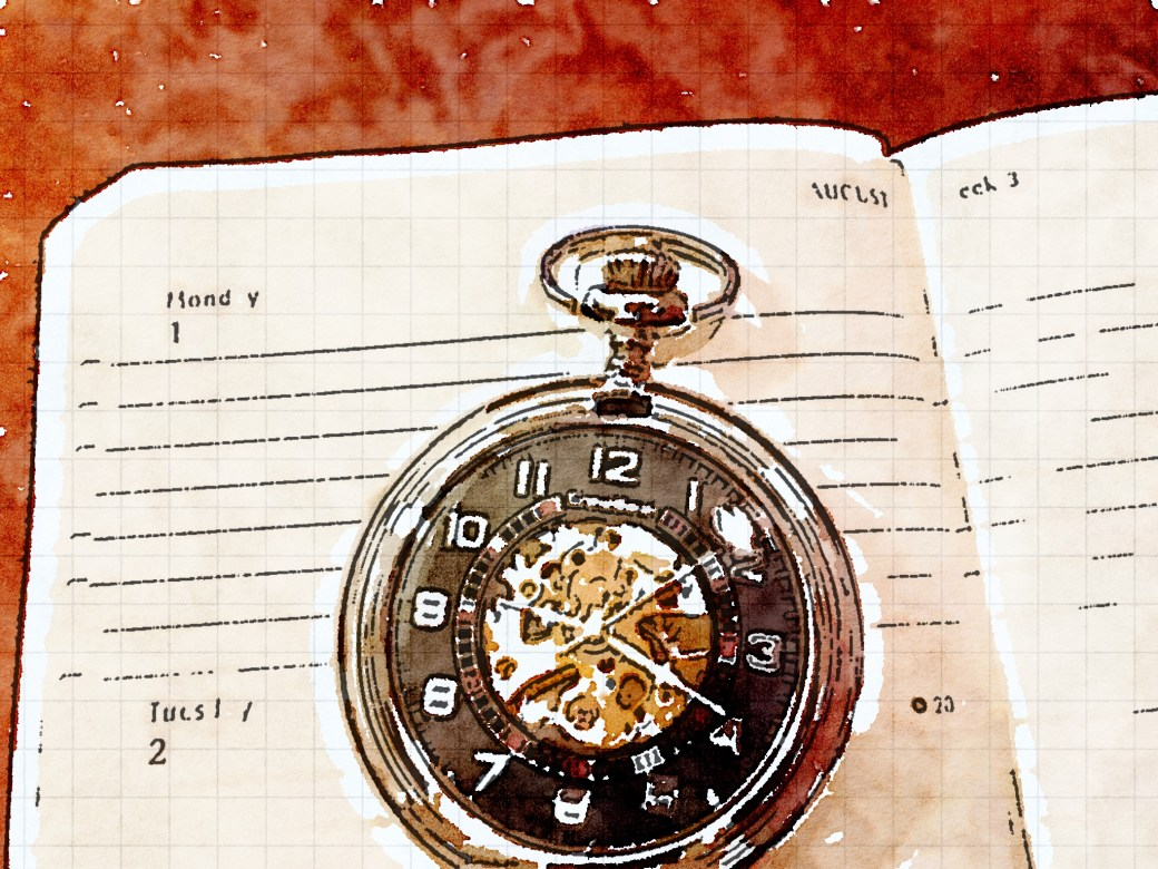 Watercolor of a pocketwatch resting on an open planner/calendar.