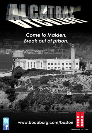 Alcatraz game poster. Depicts a black and white photo of Alcatraz prison. It says,