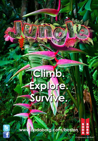 Jungle game poster. Depicts a lush jungle. It says,