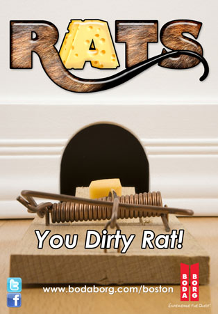 Rats game poster. Depicts a loaded mousetrap in front of a mouse hole in a wall. It says,