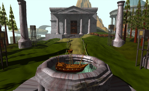 Image from Myst: A boat floating in a small water-filled urn. Greco-Roman style architecture populates the background.