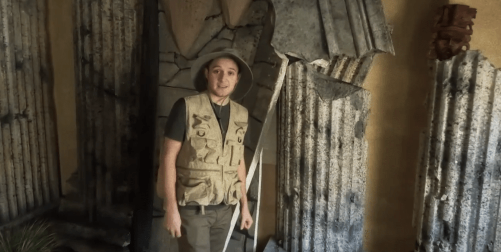 Image of a parody Indiana Jones character in the tomb set.