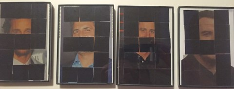 Four photographs of celebrities with transparent tiles over their faces. Some of the tiles are opaque in the shape of numbers.
