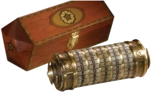 Da Vinci Code replica cryptex and flower inlayed wood box.