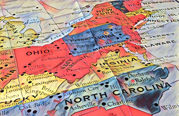 Stylized photo of a map of the north eastern quarter of the United States