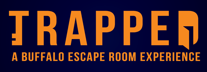 """Trapped logo, reads, """"Trapped A Buffallo Escape Room Experience"""" The """"T"""" looks vaguely like a key, the """"D"""" has an open door in it."""