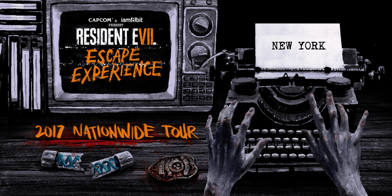 Resident Evil Escape Experience 2017 Nationwide Tour: New York Advertisement shows an old television, typewriter, a pair of disembodied hands and a broken vial.