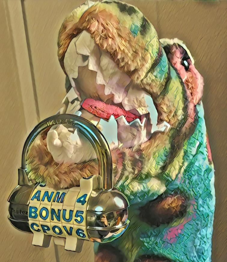 "Stylized image of a stuffed dinosaur gnawing on a padlock that said says ""Bonus"""