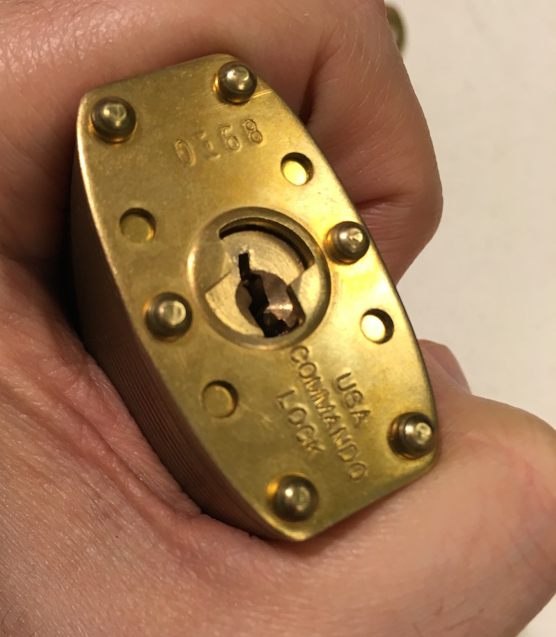 The Commando Lock Marine Brass's keyway is tight and paracentric.