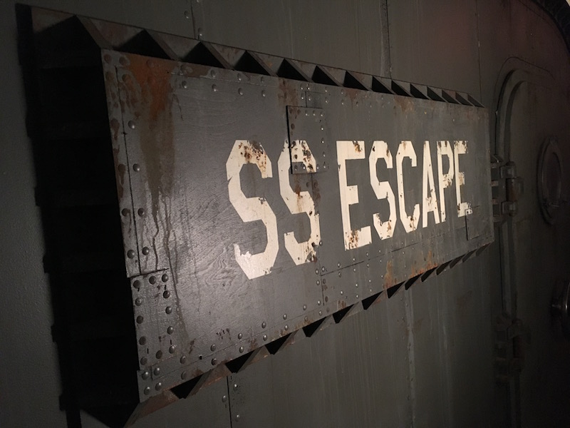 SS Escape - Submarine exterior shot. It looks like weathered metal.
