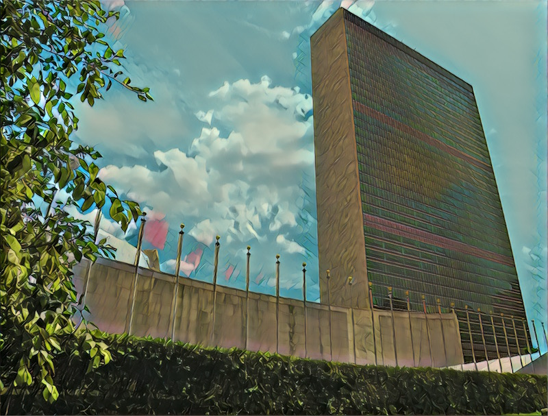 Styalized image of the United Nations on a beautiful summer day.