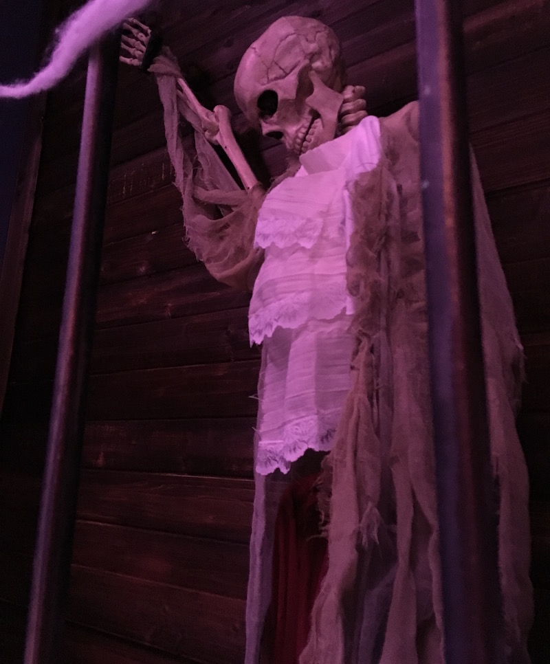 In-game: A skeleton propped against a wooden wall.