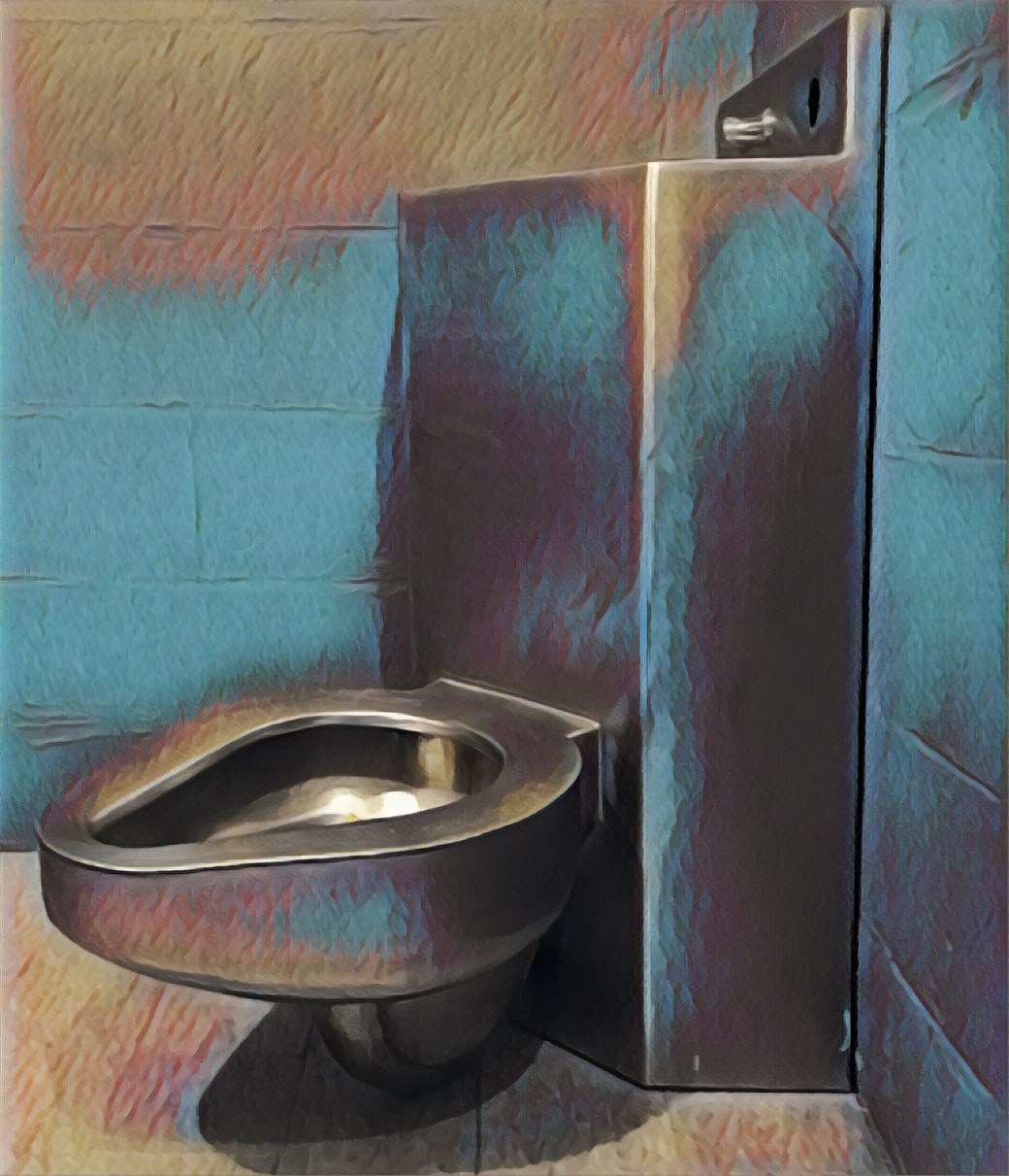 Stylized image of a metal prison toilet.