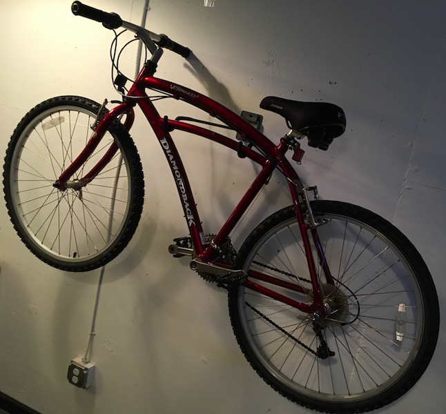 In-game: A wall mounted bicycle.