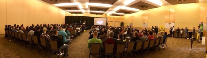 A packed crowd for the room escape artist seminar