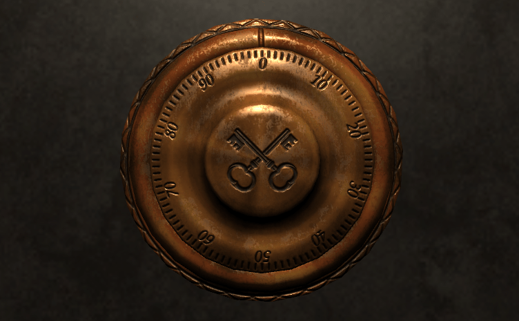 In game: An old safe's number dial with the Sherlocked cross-keys logo on the knob.
